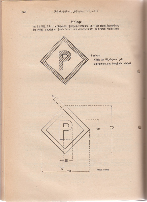 German artwork instructions for printing the mandatory letter 'P' patch worn by Polish forced labourers.